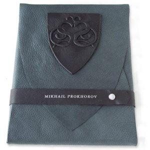 Black Leather Soft Side Portfolio, Snapped Custom Silver Name, Stamped Leather Belt, Carved Embossed Emblem