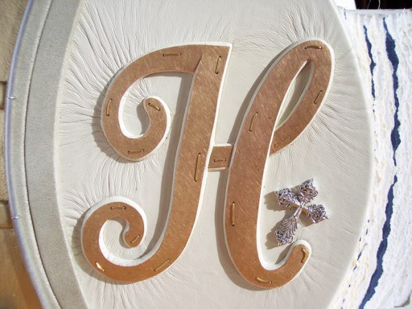 Copper Capped Carved Initial with Cross on Wedding Album