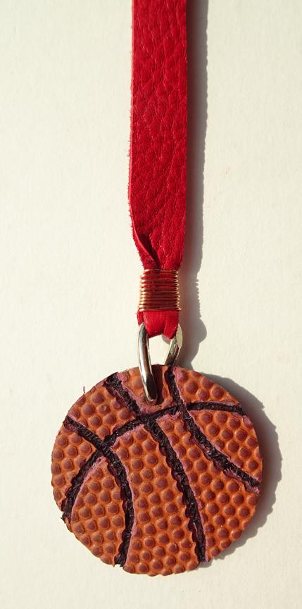 Custom Leather Bookmark with Basketball Pendant