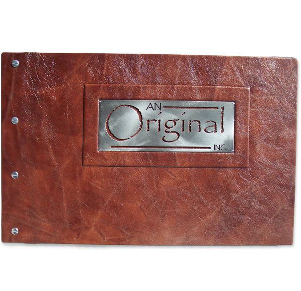 Custom Leather Business Portfolio with Cut Metal Plate Company Logo