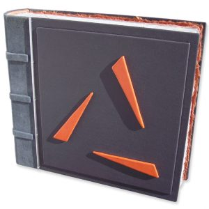 Custom leather book with Business Logo on gray Portfolio