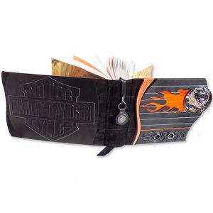 HARLEY-DAVIDSON Custom Scrapbook Album with Stained Glass Flames, Motorcycle Parts, Chrome Emblem, Bar and Shield Logo
