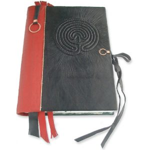 Custom Leather Notepad Cover with Labyrinth Slipcover and Closure for Spiral Ring Notebook