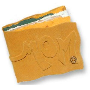 suede yellow leather gift book with MOM on the cover