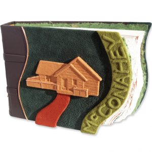 Northwoods rustic custom Cabin Guestbook with embossed family name and leather wrapped cabin