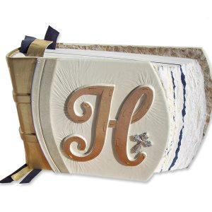 Custom White Leather Wedding Album with Carved Copper Initial and Silver Cross