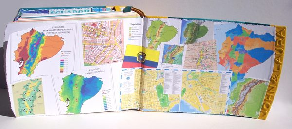 Ecuador Map endpages in Leather Album
