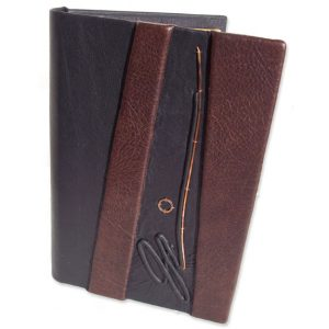 Personalized Notebook Cover with embossed signature, plus pen and business card holders