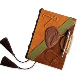Equestrian Custom Leather Journal with Pen Closure, personalized with horse logo, embossed initials, and leather flap closure