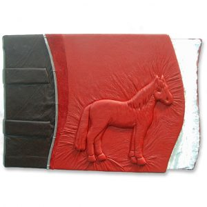 Red Horse Album, Equestrian scrapbook with carved embossed horse under red leather