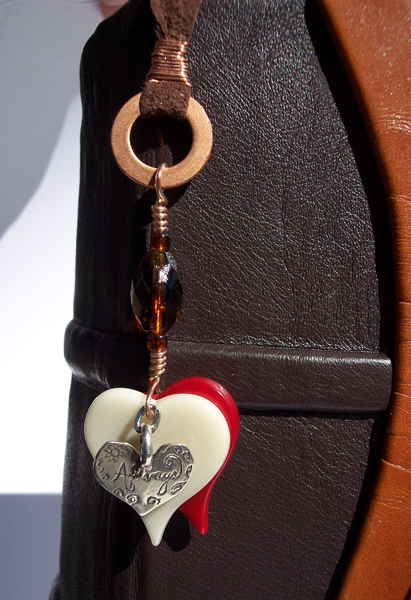 Glass and Silver Heart Pendant Pagemarker, Leather, Copper