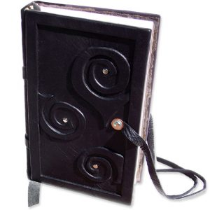 Handbound Leather Journal with Swirls and Lace Closure