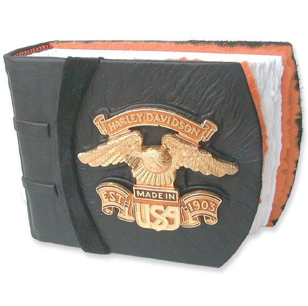 Black Leather Harley Davidson Album with Eagle Emblem from motocycle gas tank | travel sized
