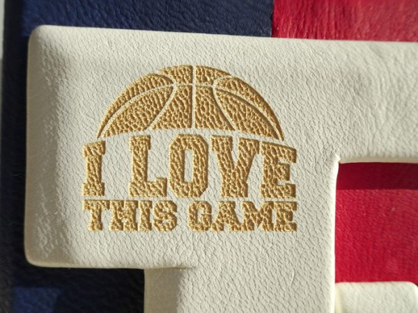 I Love This Game NBA Basketball Leather Laser etched Logo