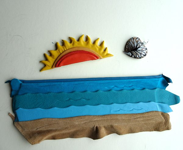 making leather sunset and ocean waves