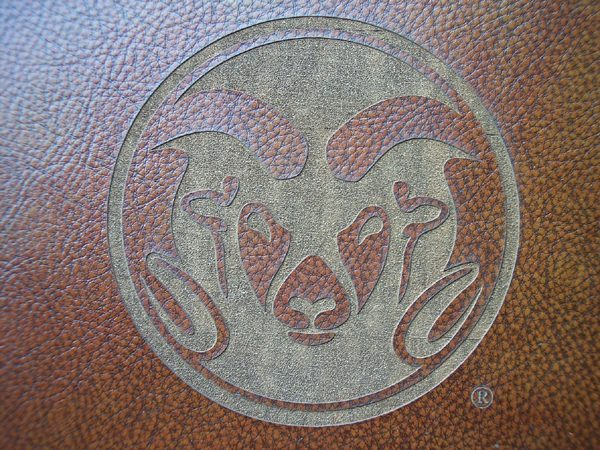 Rams laser etched logo close-up