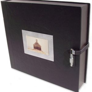 Leather Portfolio Box with Photo Window, Lace Clip Closure
