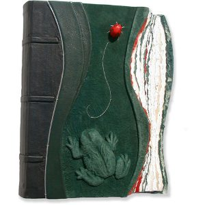 Green leather embossed Toad and Ladybug Scrapbook Album