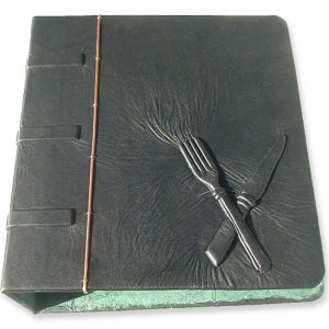 Three Ring Binder Fork and Knife Black Leather Recipe Book