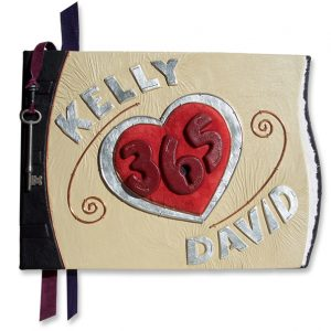 Leather Wedding Engagement Book Personalized with Names, Heart, Lock and Key