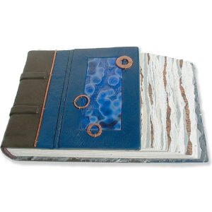 Handbound Leather Guestbook with inset stained Glass Blue Window and copper washers