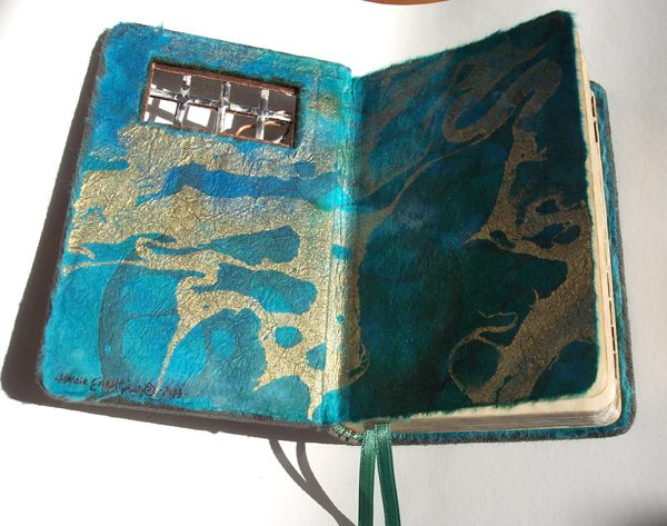 turquoise metallic marbled paper coversheets in a refurbished Bible with a soldered glass window