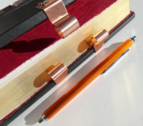 Pen Holder on Custom Leather Bible with Copper Clasp