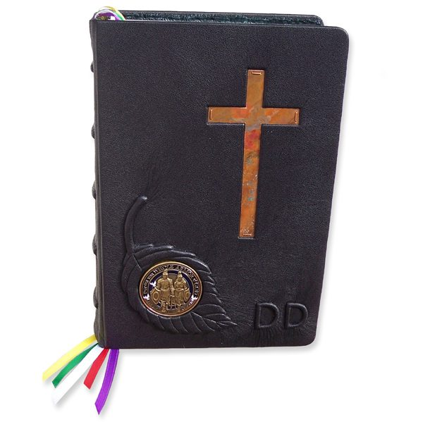 Personalized Leather Bible with Coin Medallion and Embossed Leaf