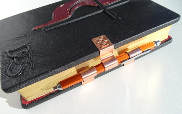 Copper Pen Holder Closure on Leather Bible