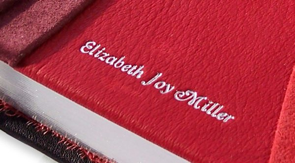 Silver Foil Heat Stamped Name Debossed into Leather Bible Cover