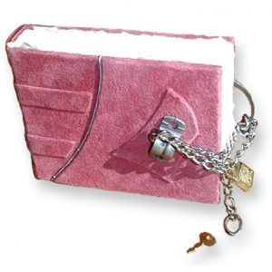 Pink Pad Lock and Chain Locked Leather Journal with steel chain and pink suede