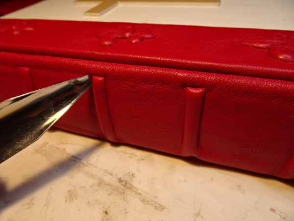 In-progress image - Raised Cords on a Custom Leather Bible Spine