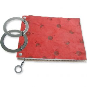 Red Leather Double Diesel Engine Ring Notebook with Bookmark and Branding