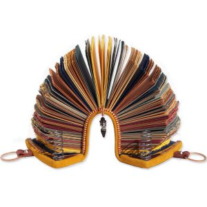 Sculptural Arched Leather Journal with Titanium and Springs, Slinky shaped book