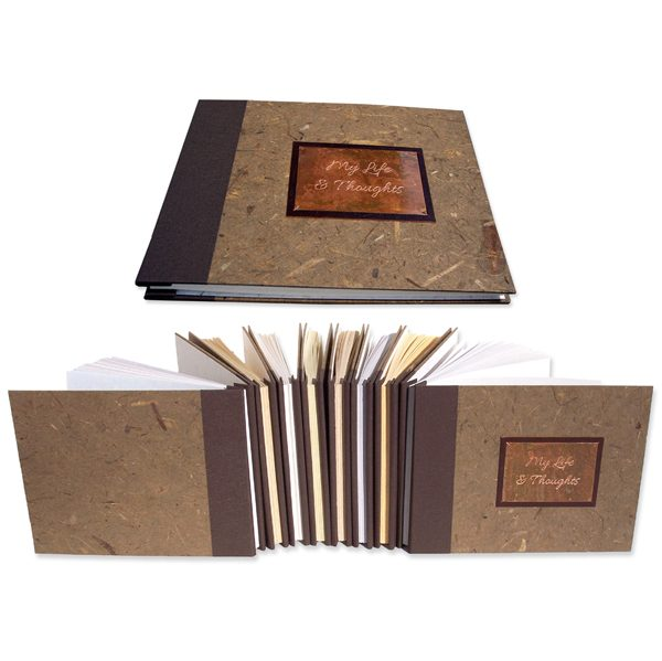 custom memoir books screwpost bound with engraved lettering title plate