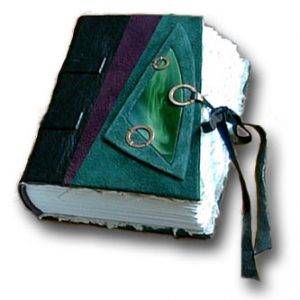 Stained Glass Wedding Guestbook or Journal with leather lace tie