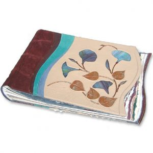 Stained Glass Morning Glory Custom Leather Scrapbook with Copper Leaves