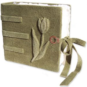 Engagement Book with Hidden Ring Compartment and carved embossed tulip under sage green leather