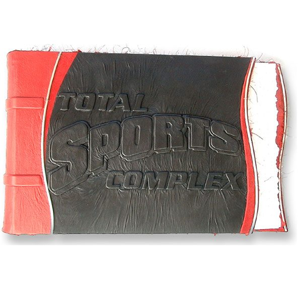 black and red leather photo album with sport logo for business