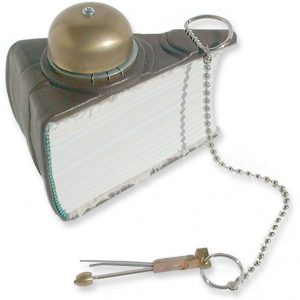 Leather triangle book with rotary phone bell and chime