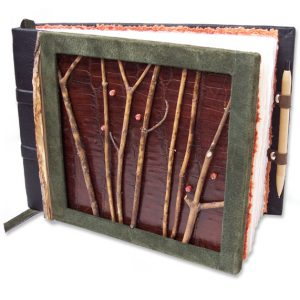 Repurposed Alligator Leather Journal with Pen holder, twigs, and coral beads