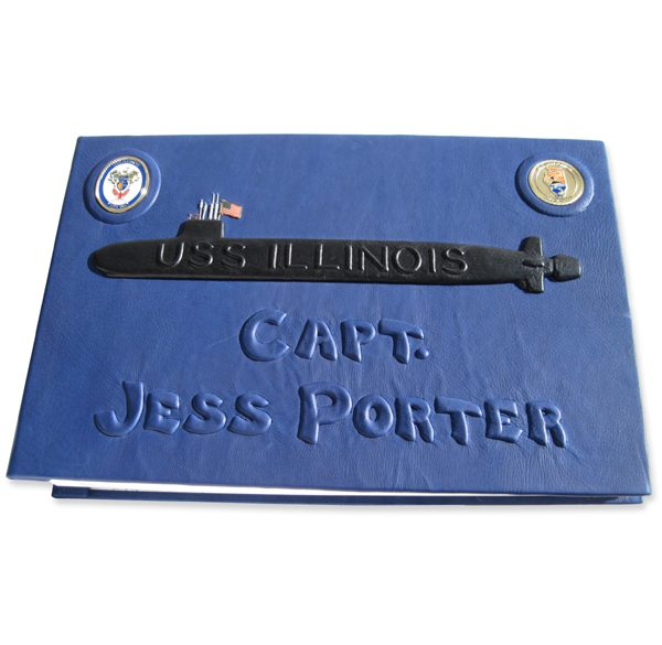 USS Illinois Submarine Carved Embossed Leather Book, Inset Coins, Name