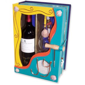 Leather Box for Wine and Decanter, Clamshell Showcase Window Box with shells