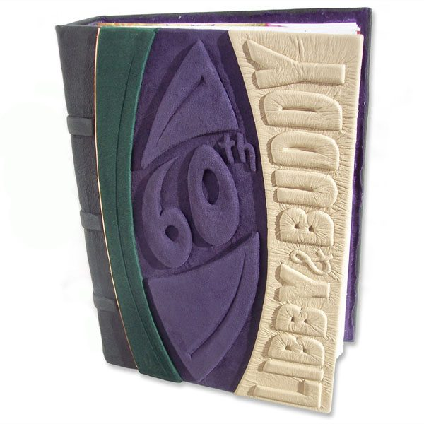 60th Anniversary Album with carved and leather embossed names and 60th