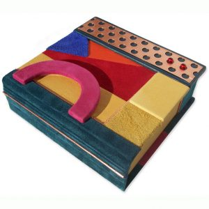 Abstract Initials Leather Box, personalized clamshell style box
