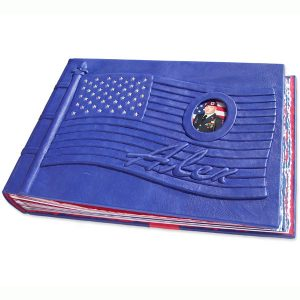 Military Books -Memorial Flag Scrapbook Album for fallen soldier, with photo under glass and name embossed under blue leather