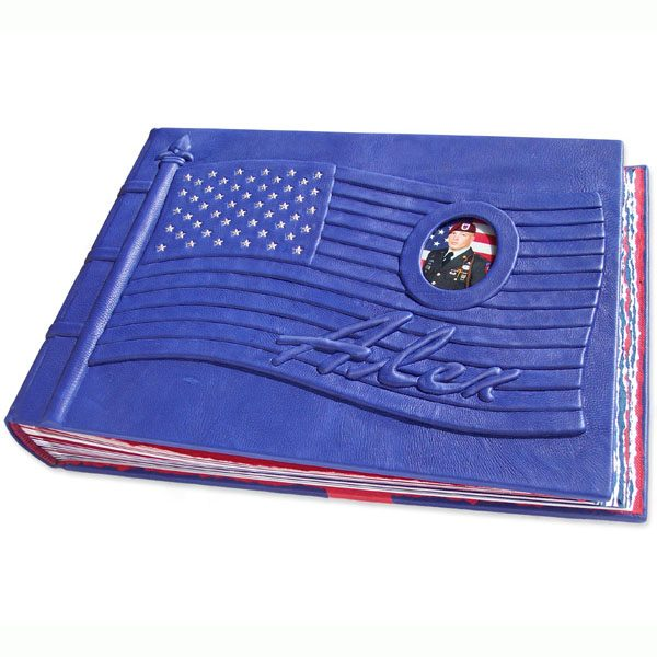 Memorial Flag Scrapbook Album for fallen soldier, with photo under glass and name embossed under blue leather