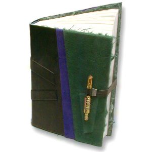 handbound askew black leather journal with metal slide pin closure in green and blue suede