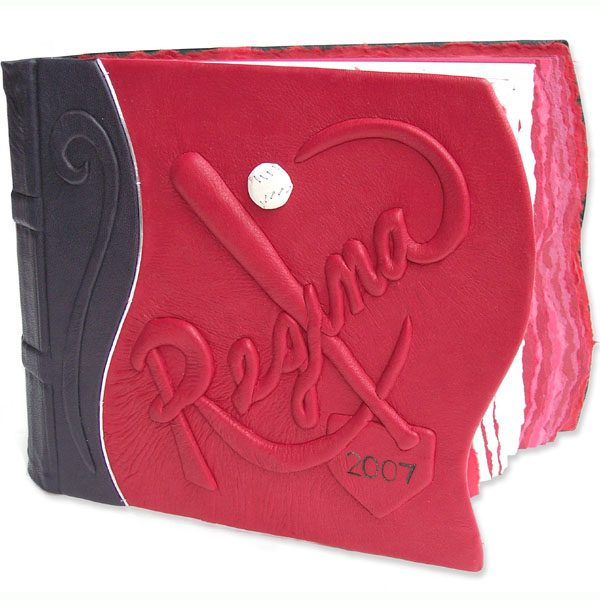 Custom red leather photo album with baseball bat, ball, home plate