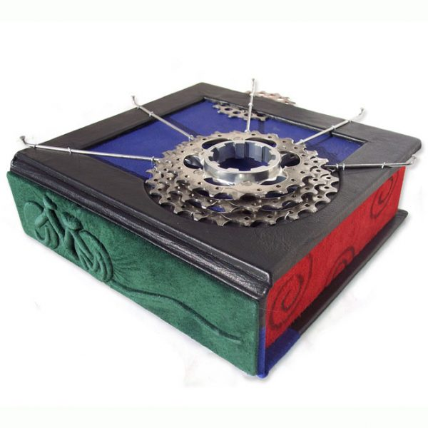 Custom Leather Clamshell Box with Bicycle Parts, Spokes, Gears